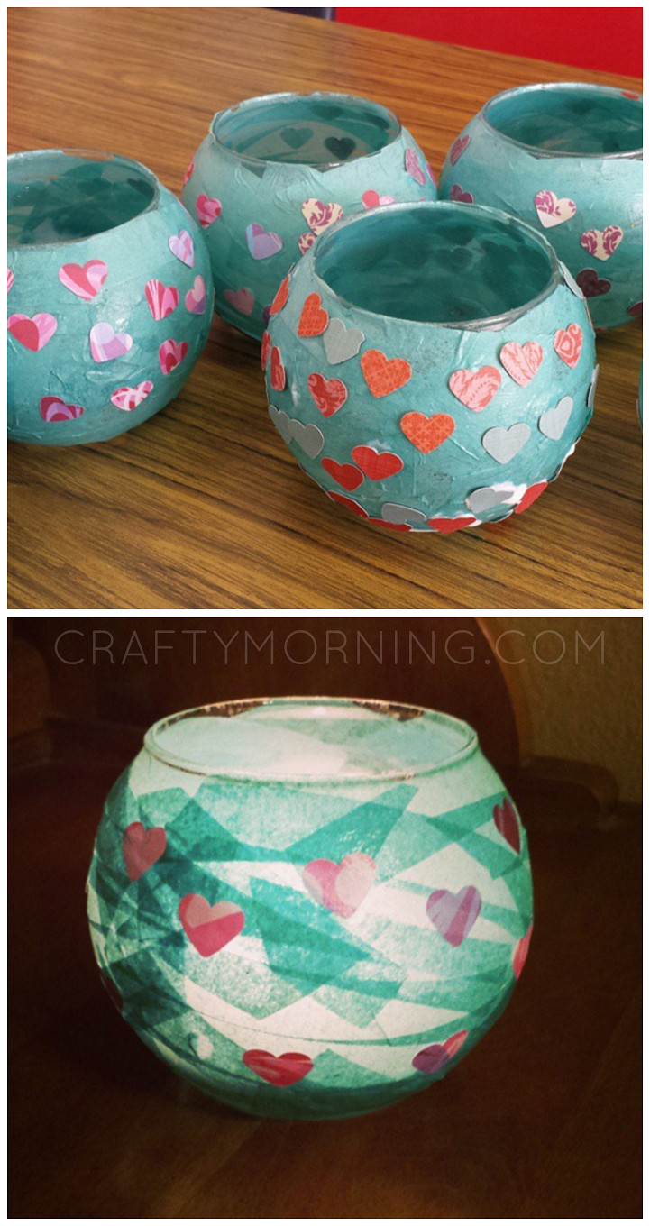 Preschool Mothers Day Gift Ideas  Kid Made Mod Podge Candle Holders what a cute mother s