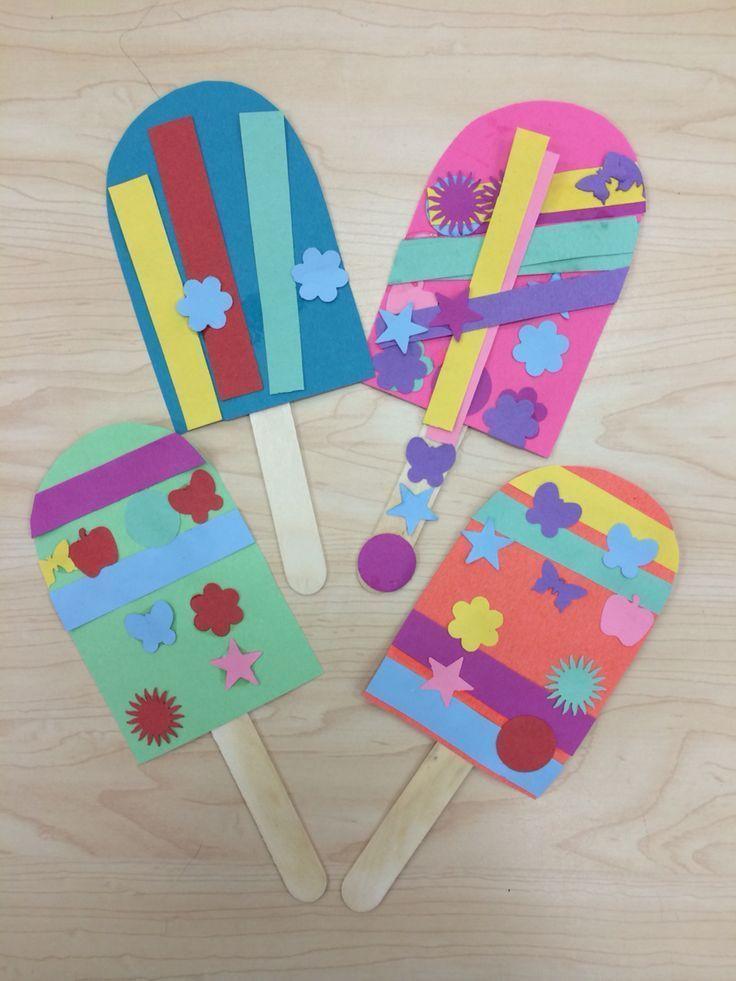 Preschoolers Art And Craft  Popsicle Summer Art Craft for Preschoolers Kindergarten