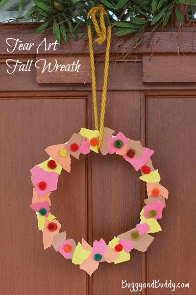 Preschoolers Art And Craft  Fall Crafts for Kids Tear Art Fall Wreath Buggy and Buddy