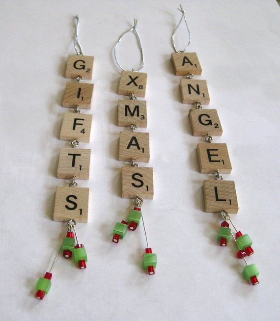 Scrabble Tile Christmas Ornaments  Items similar to Scrabble tile Christmas ornaments set of