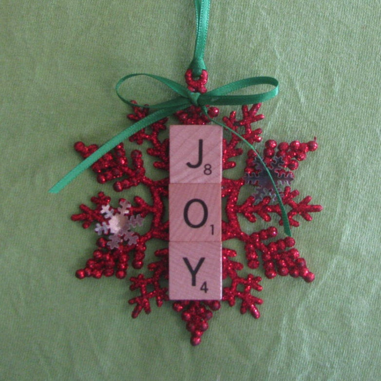 Scrabble Tile Christmas Ornaments  Joy glitter snowflake scrabble tile Christmas ornament