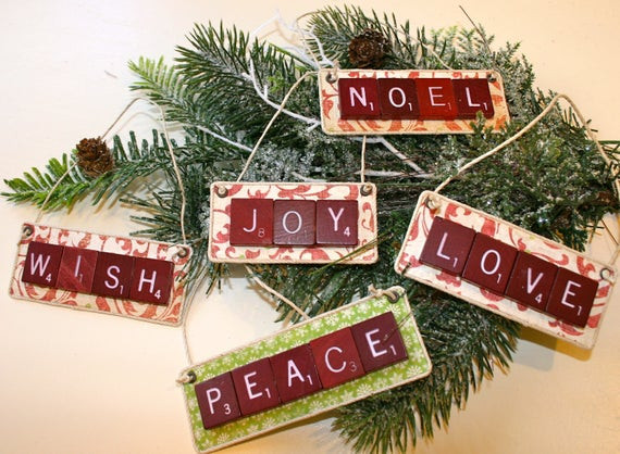 Scrabble Tile Christmas Ornaments  Items similar to Vintage Scrabble Tile Christmas Ornaments