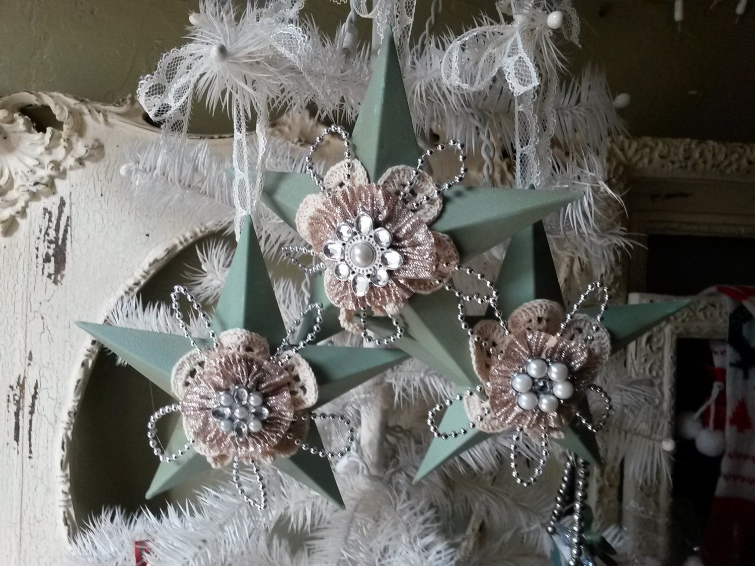 Shabby Chic Christmas Ornaments  Shabby Christmas ornaments stars Cottage Chic mint green ivory