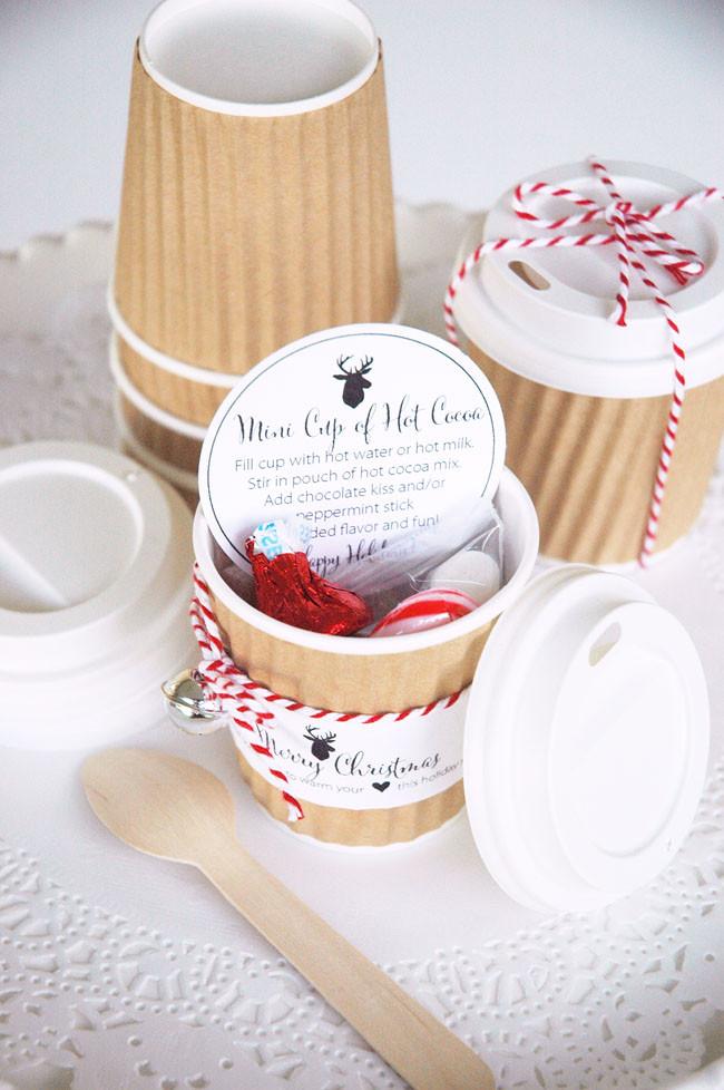 Small Christmas Gift Ideas  Mini Hot Cocoa Cups Holiday Gift Idea
