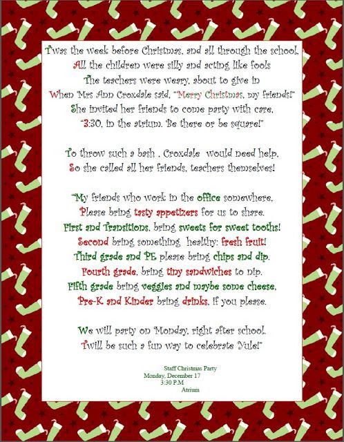 Staff Christmas Party Ideas  So cute for a school staff christmas to her