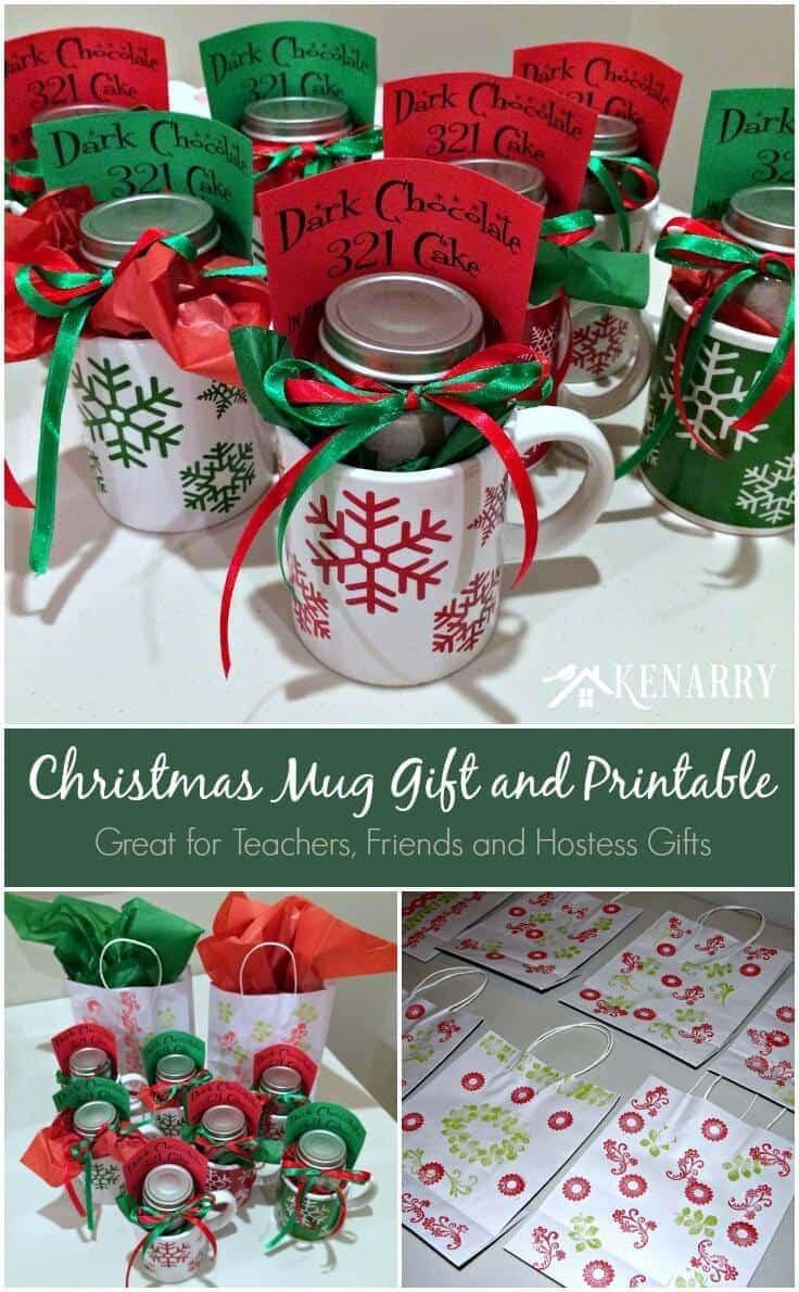 Teacher Christmas Gift Ideas  Christmas Mug Teacher Gift with Free Printable