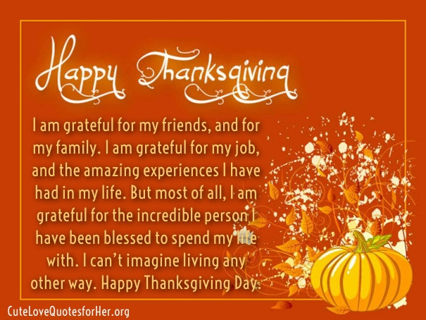 Thanksgiving Day Quotes  Thanksgiving Love Quotes for Her – Thank You Sayings