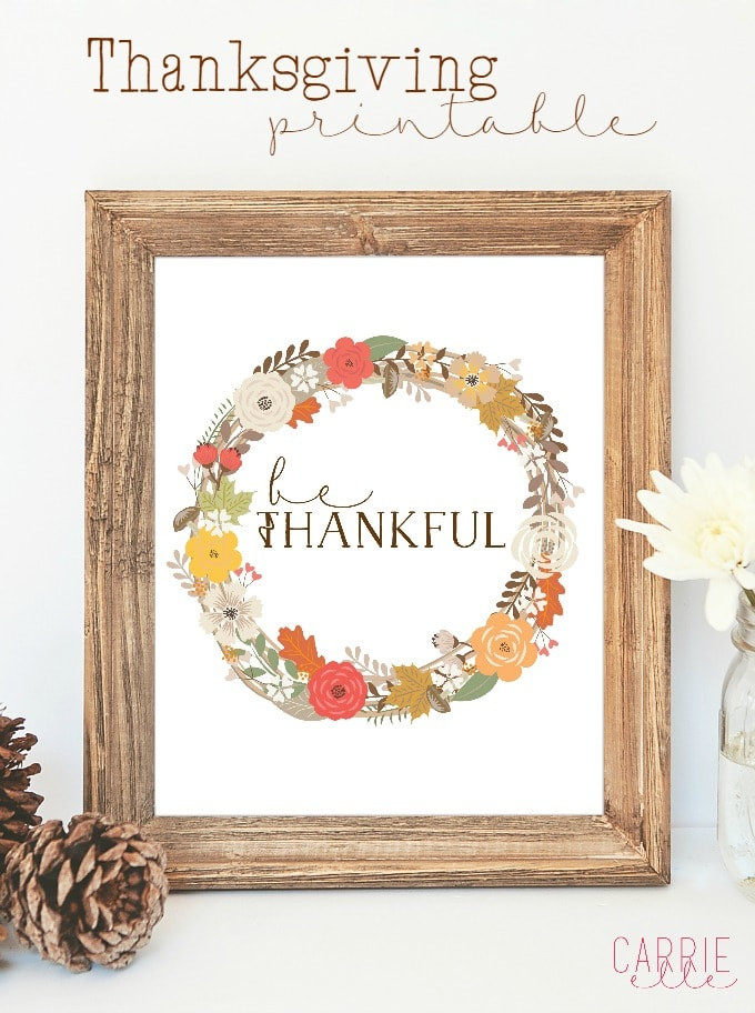 Thanksgiving Wall Art  Free Thanksgiving Printable Wall Art Carrie Elle