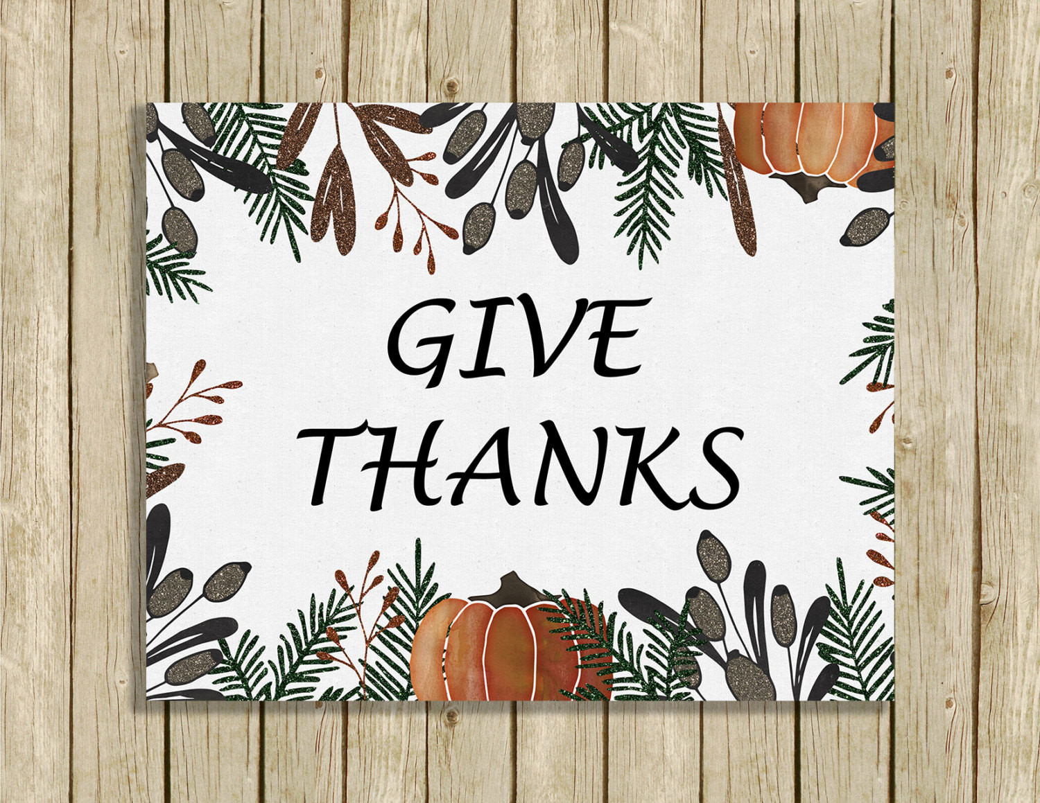Thanksgiving Wall Art  printable Thanksgiving wall art Give Thanks instant 8