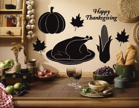 Thanksgiving Wall Art  Thanksgiving Wall Decal Thanksgiving Home Decor Decal Pack