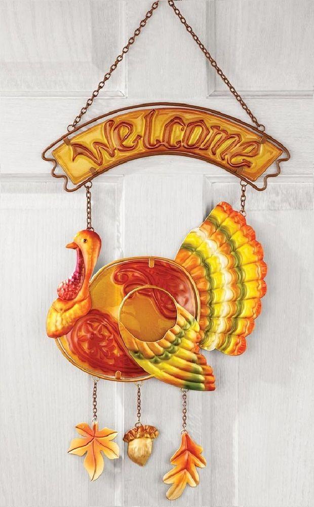 Thanksgiving Wall Art  Autumn Thanksgiving Turkey Fall Holiday Glass Wel e Door