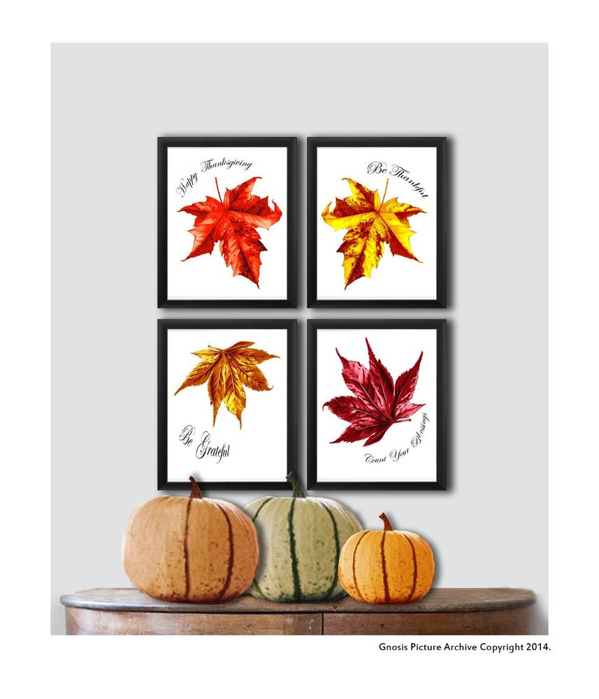 Thanksgiving Wall Art  Thanksgiving Decor Wall Art Prints set of 4 Fall Leaves