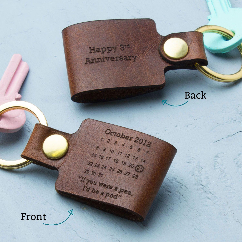 Third Anniversary Gift Ideas  Personalised Third Wedding Anniversary Leather Keyring