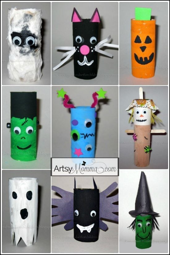 Toilet Paper Roll Halloween Crafts  16 Toilet Paper Tube Halloween Characters 24 Easy