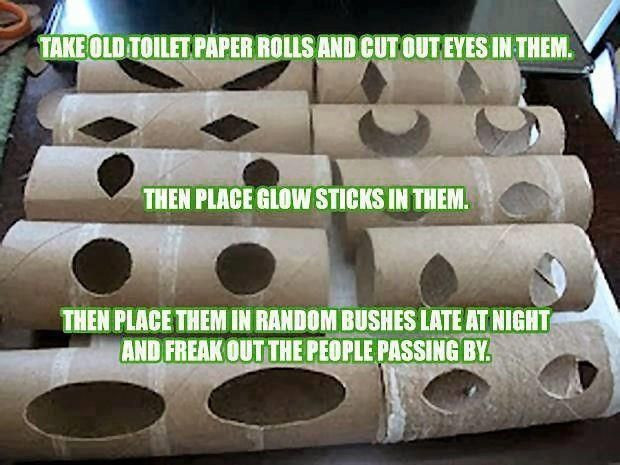 Toilet Paper Roll Halloween Decorations  toilet paper rolls eyes