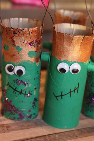 Toilet Paper Roll Halloween Decorations  Toilet paper Roll Craft – Kids Halloween Frankenstein
