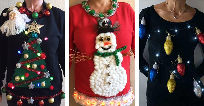Ugly Christmas Sweater Ideas DIY  It s Ugly Christmas Sweater Time 3 Tree Mendously Tacky
