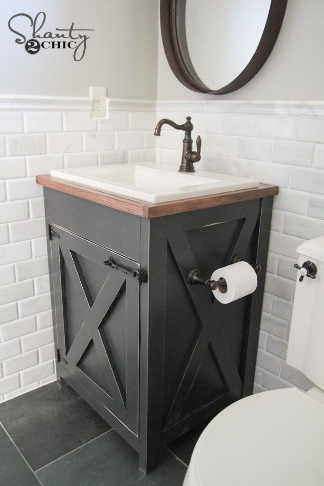 Vanity Plans DIY  DIY Farmhouse Bathroom Vanity Shanty 2 Chic