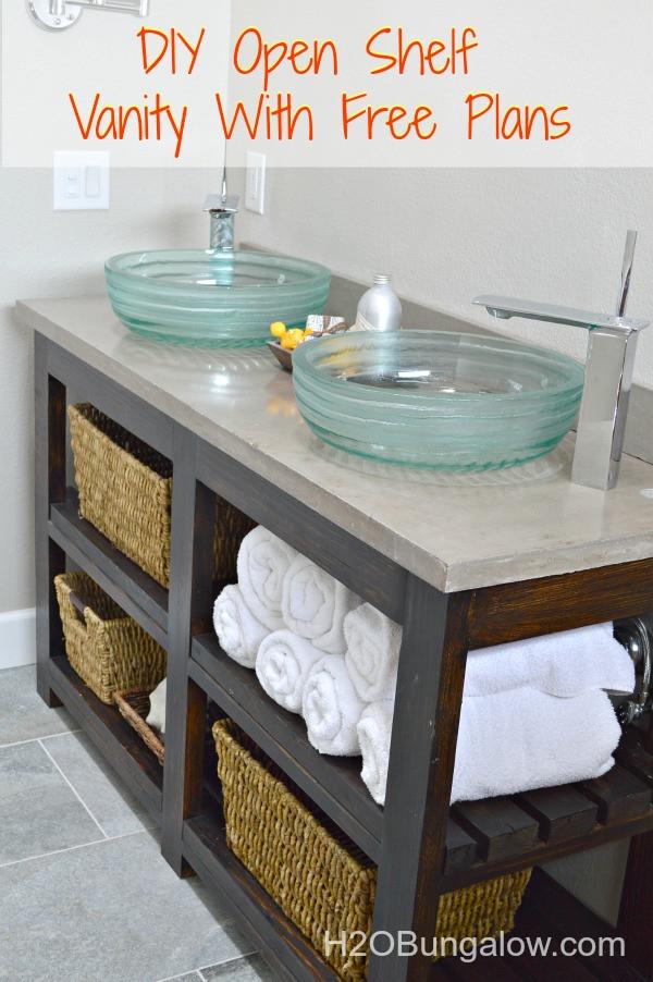 Vanity Plans DIY  DIY Open Shelf Vanity With Free Plans