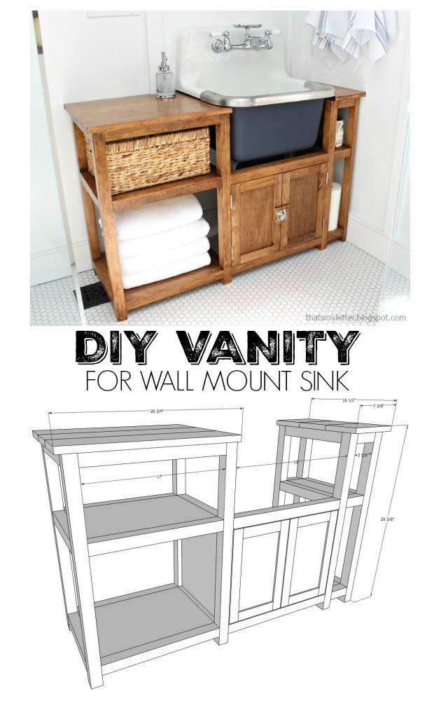 Vanity Plans DIY  That s My Letter DIY Vanity for Wall Mount Sink