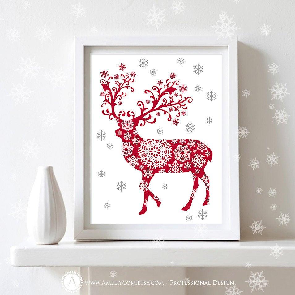 Wall Decor For Christmas  Printable Christmas Decor Poster Print Deer Silhouette Art
