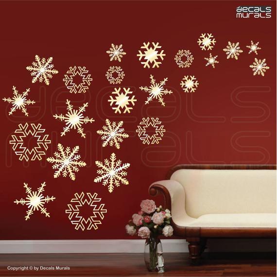 Wall Decor For Christmas  Wall decals SNOWFLAKES FALLING Holidays Christmas wall decor