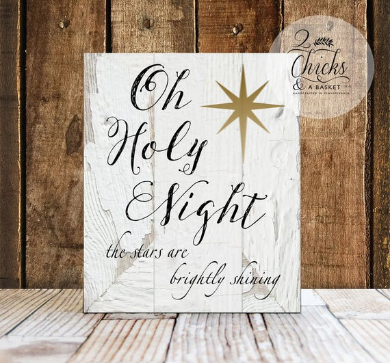 Wall Decor For Christmas  Oh Holy Night Sign Christmas Wall Decor Christmas Wall Sign