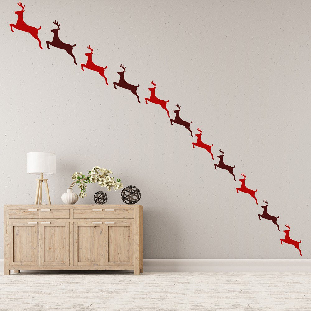 Wall Decor For Christmas  Reindeer Wall Sticker Pack Festive Christmas Wall Decal